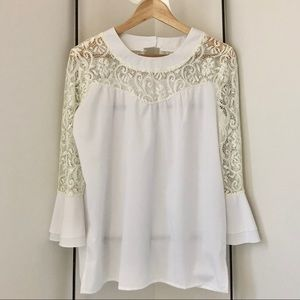 Tops - White/Ivory Top with 3/4 Bell Sleeves